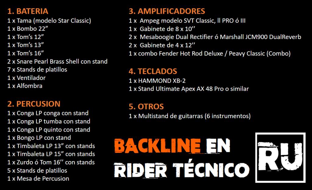 Ejemplo de Backline en el Rider Técnico