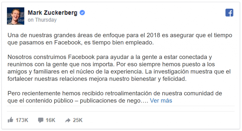 Mark Zuckerberg Anuncio
