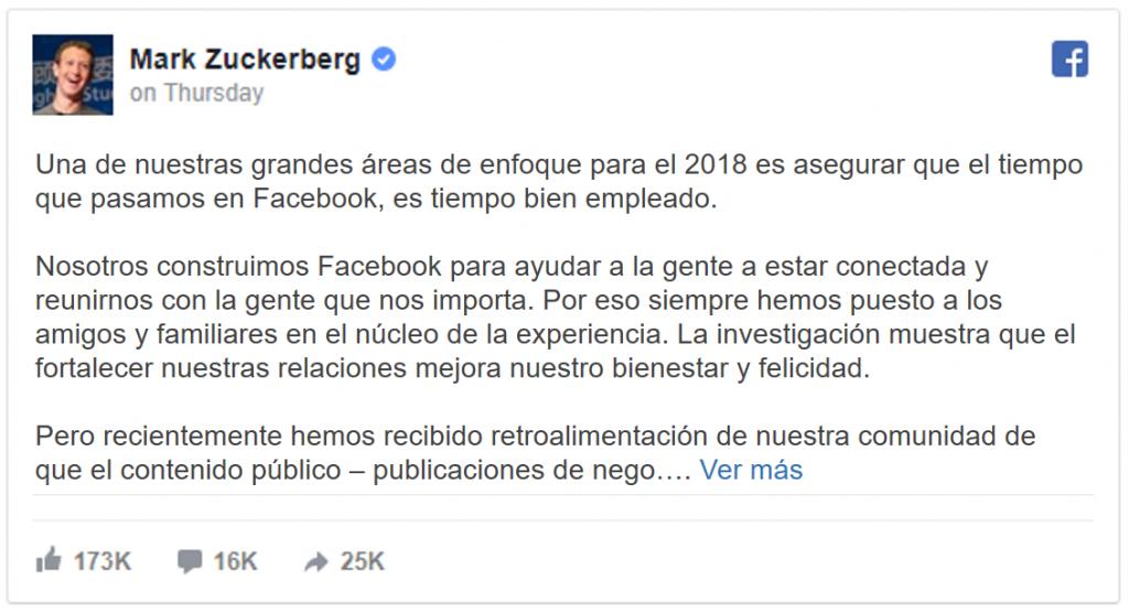 Mark Zuckerberg Anuncio