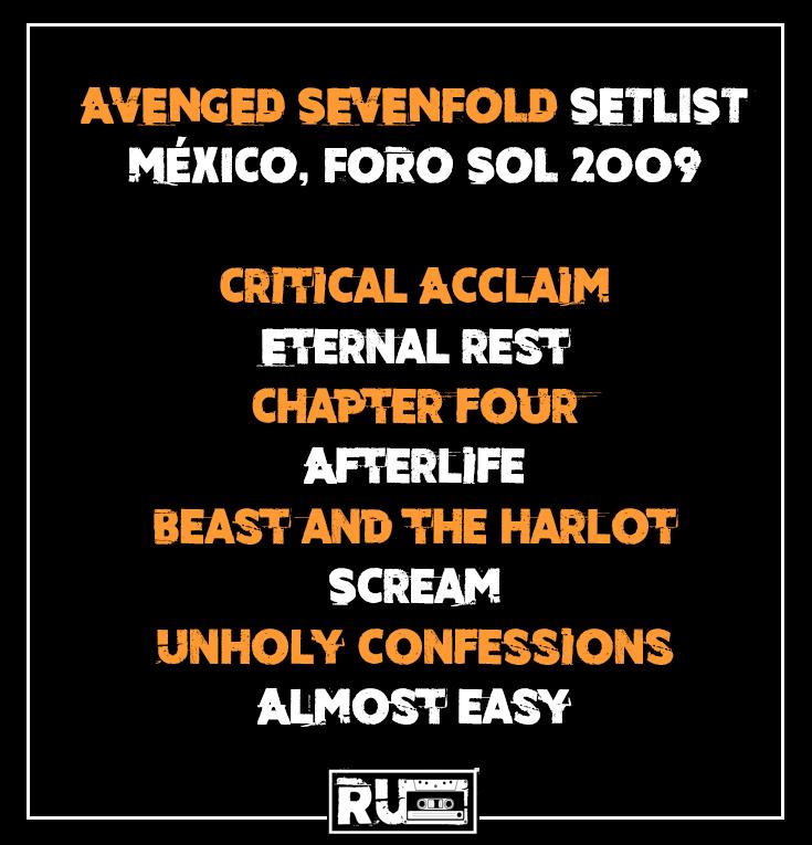 Setlist en el Foro de Sol de Avenged Sevenfold en 2009