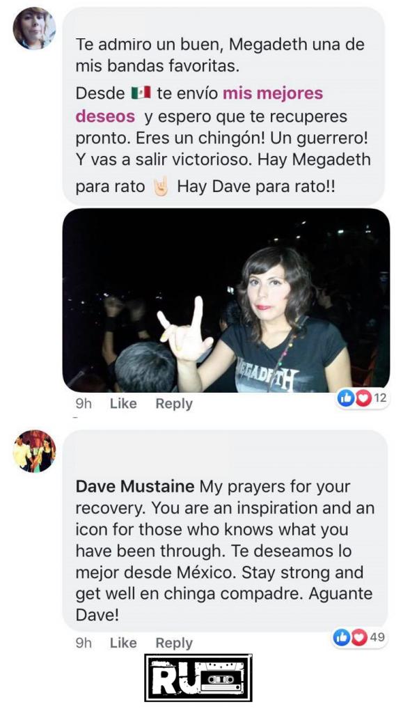 Fans de Megadeth envían mensajes de solidaridad a Dave Mustain tras su diagnóstico de cáncer de garganta.