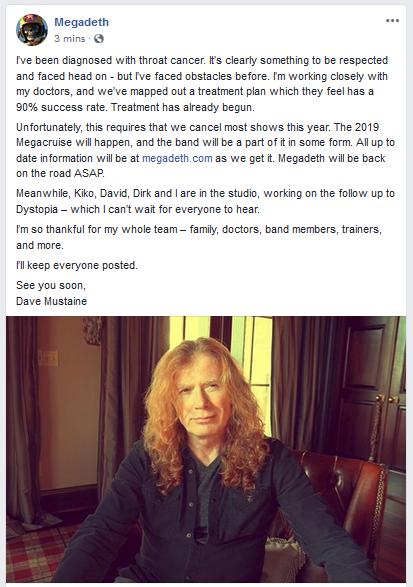 Dave Mustain anunció que se encuentra en tratamiento por cáncer de garganta a través de redes sociales.